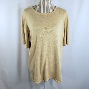 Anna Gray Sparkly Gold Silk Top Size 2X
